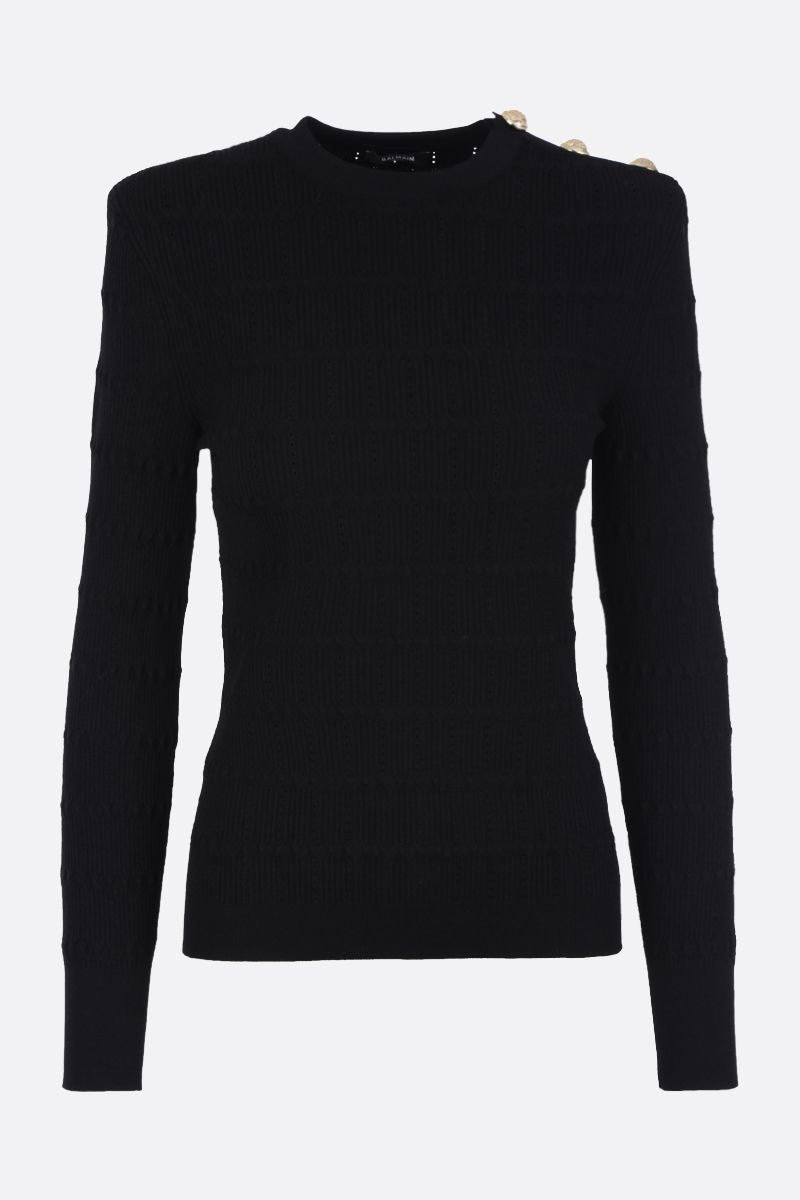 BALMAIN: button-detaild stretch knit pullover Color Black_1