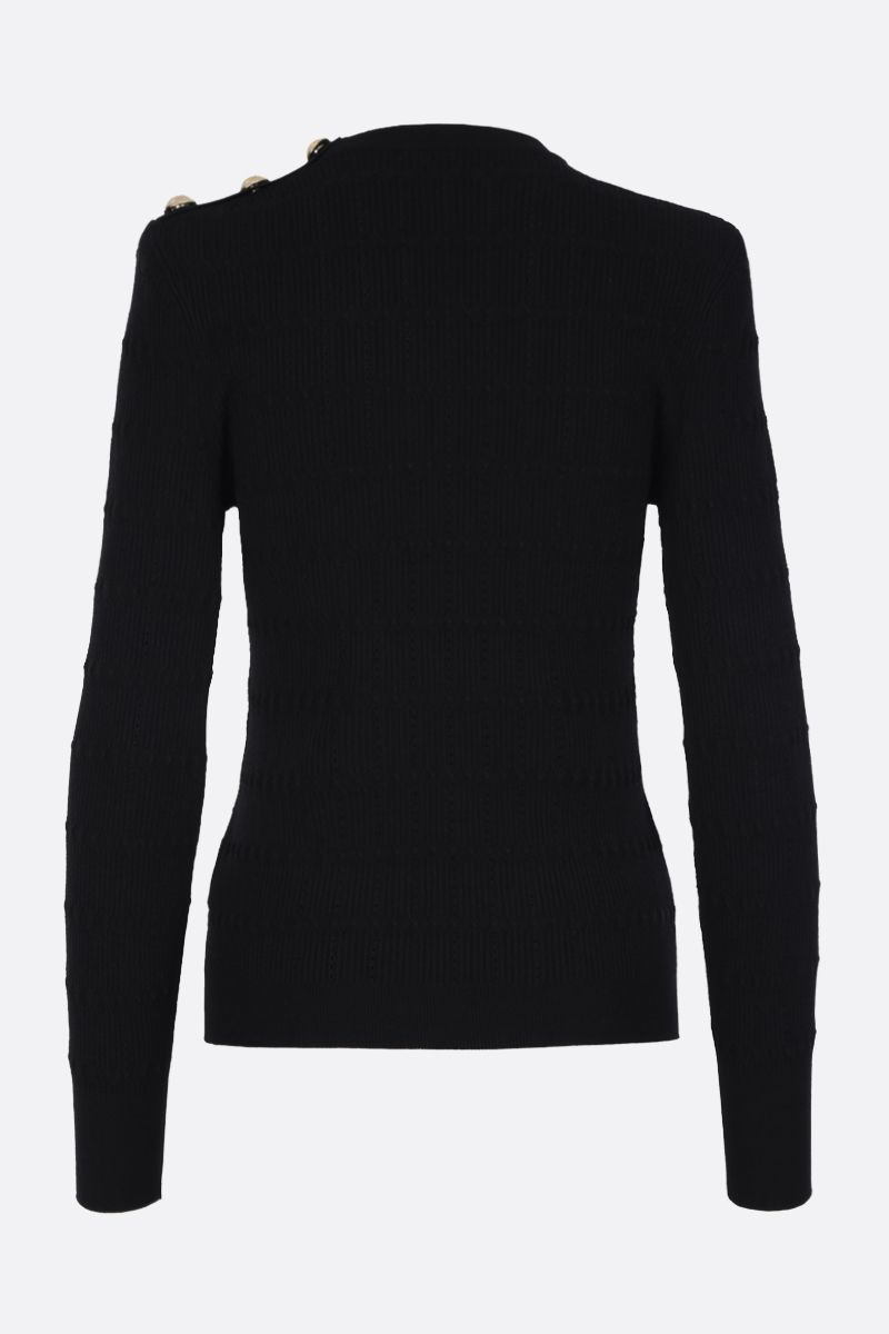 BALMAIN: button-detaild stretch knit pullover Color Black_2
