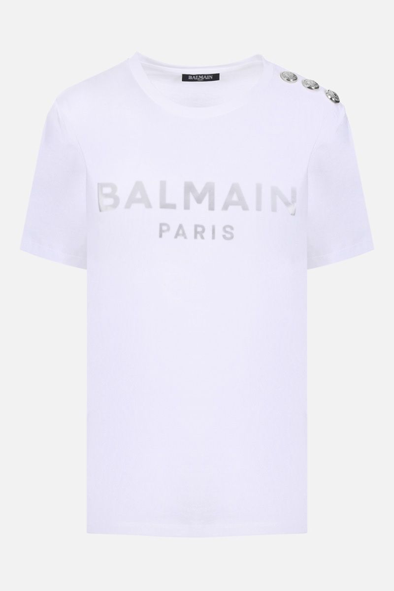BALMAIN: Balmain logo print cotton t-shirt Color White_1