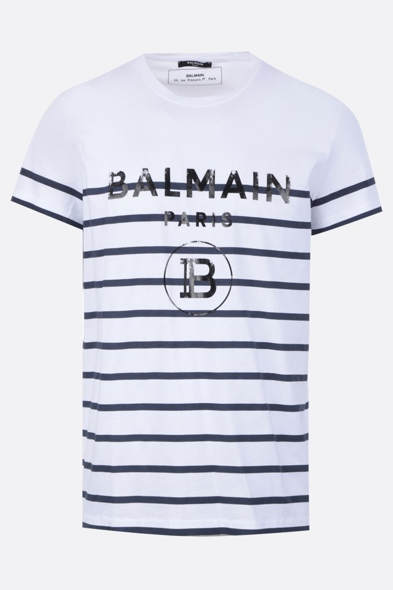 BALMAIN: Balmain logo print striped cotton t-shirt Color Multicolor_1