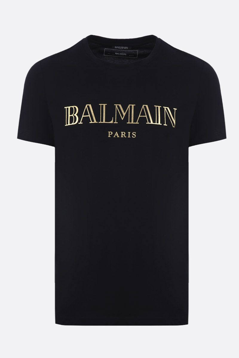 BALMAIN: t-shirt in jersey stampa Balmain Paris Colore Nero_1