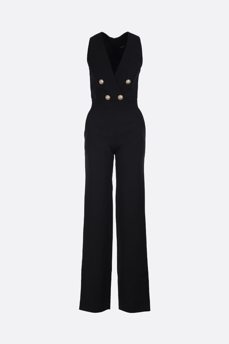 BALMAIN: jumpsuit in lana con bottoni decorativi Colore Nero_1