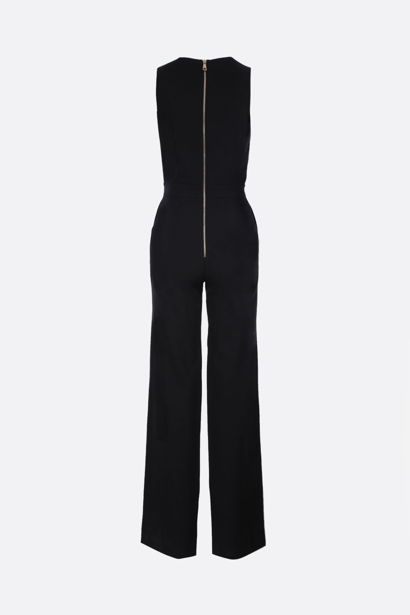 BALMAIN: decorative buttons-detailed wool jumpsuit Color Black_2
