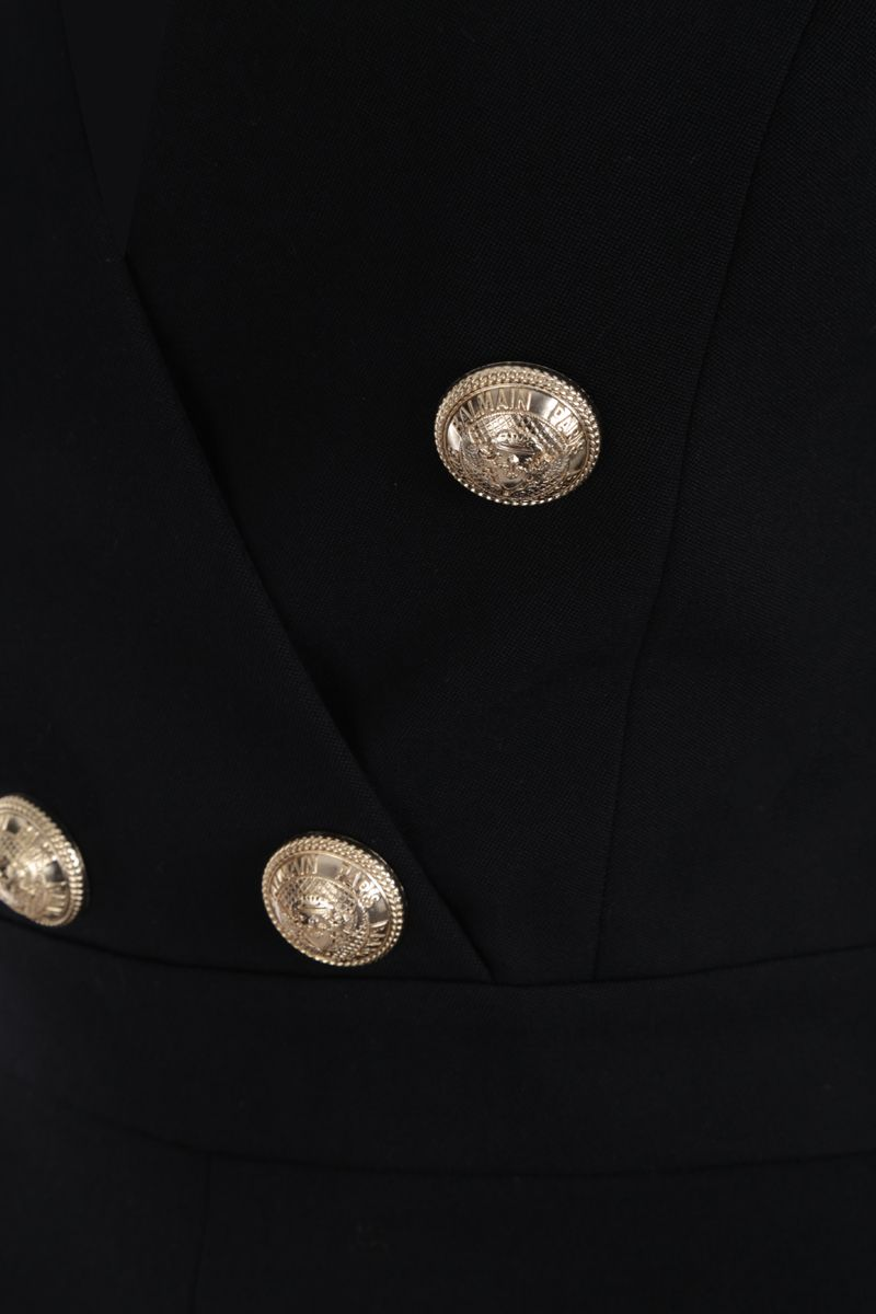 BALMAIN: decorative buttons-detailed wool jumpsuit Color Black_4