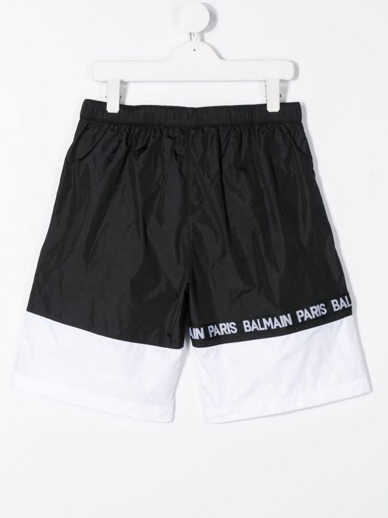 BALMAIN KIDS: logo band-detailed nylon swim shorts Color White_2