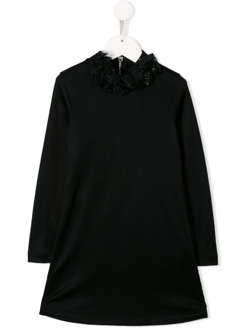 BALMAIN KIDS: cotton blend dress with tulle detailing Color Black_1