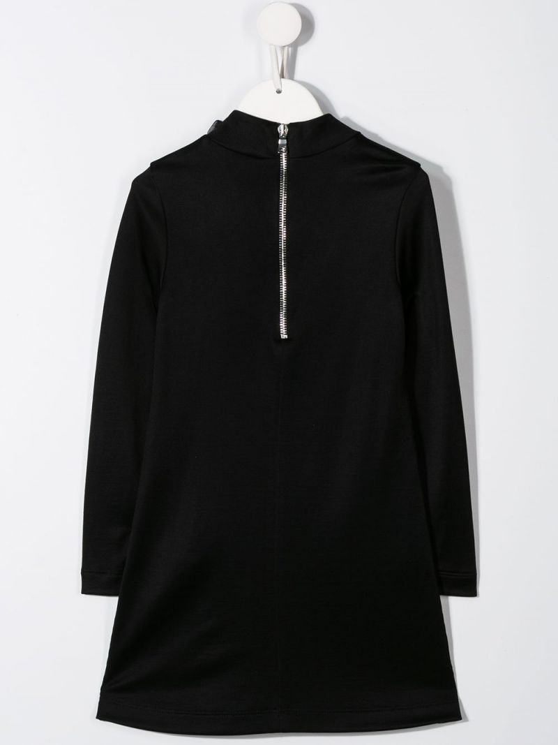 BALMAIN KIDS: cotton blend dress with tulle detailing Color Black_2