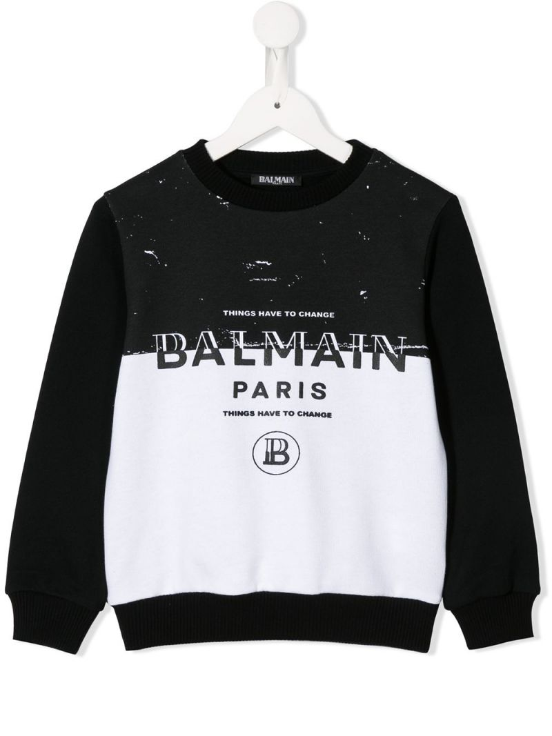 BALMAIN KIDS: colour-block cotton sweatshirt with Balmain logo Color White_1