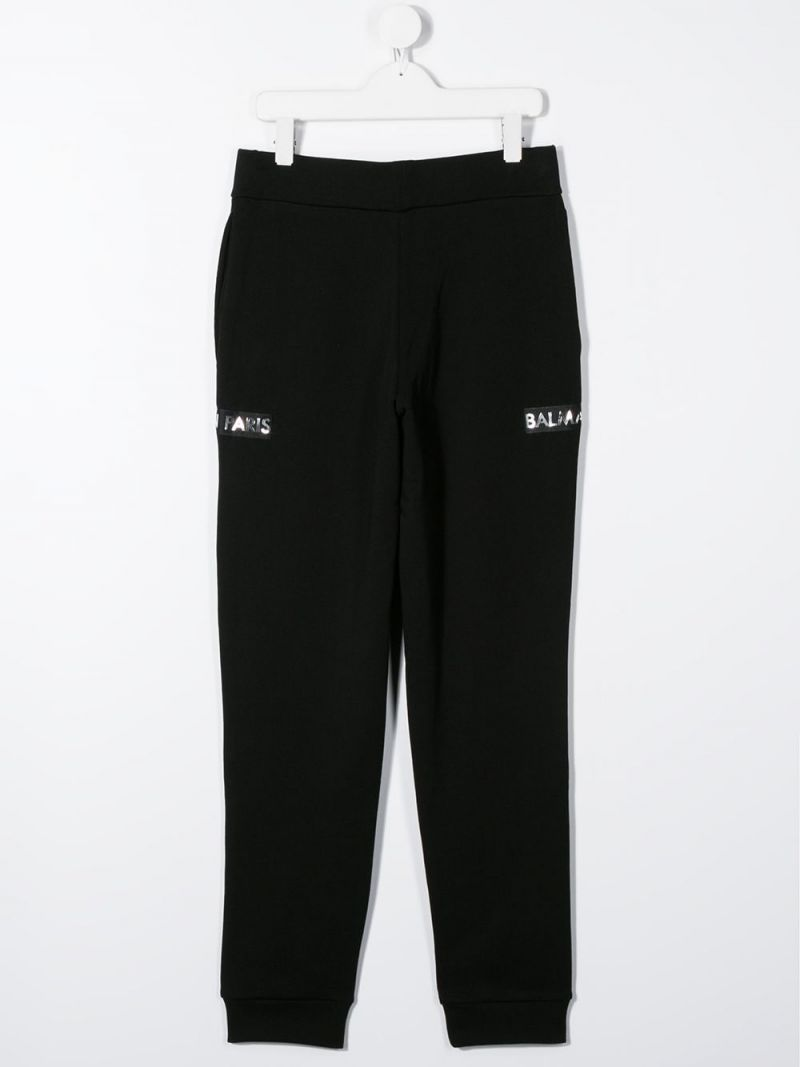 BALMAIN KIDS: logo patch cotton joggers Color Black_2