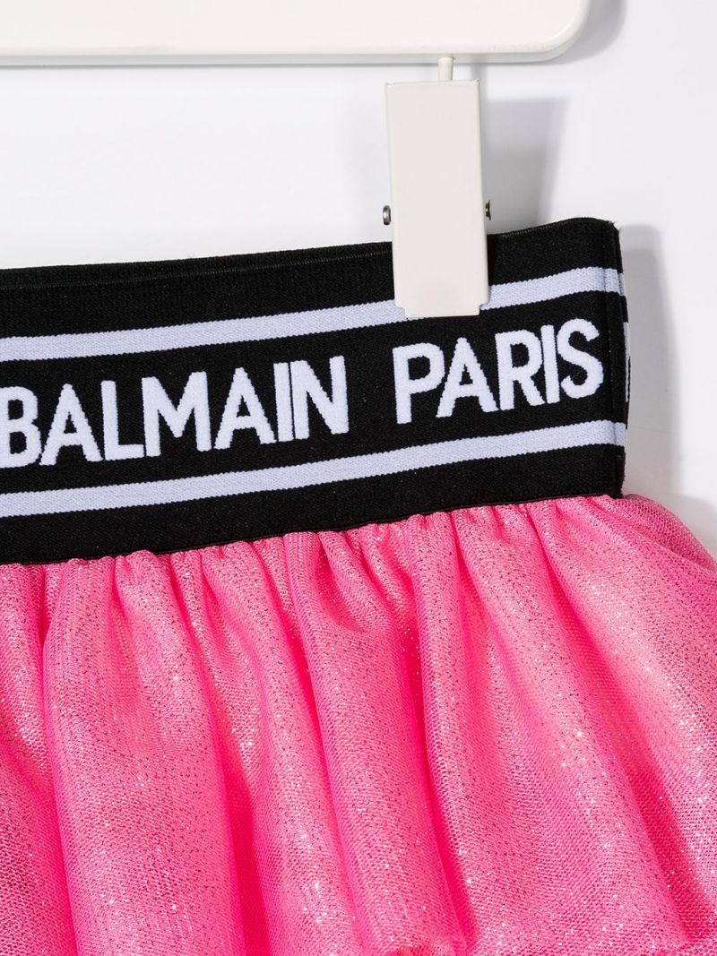 BALMAIN KIDS: tulle flounced skirt Color Pink_3