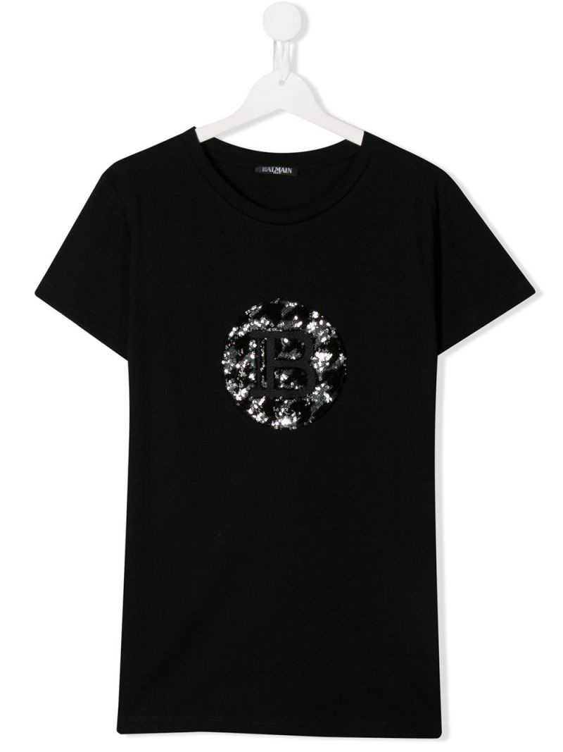 BALMAIN KIDS: logo embroidered cotton t-shirt Color Black_1