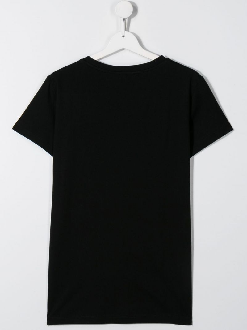 BALMAIN KIDS: logo embroidered cotton t-shirt Color Black_2