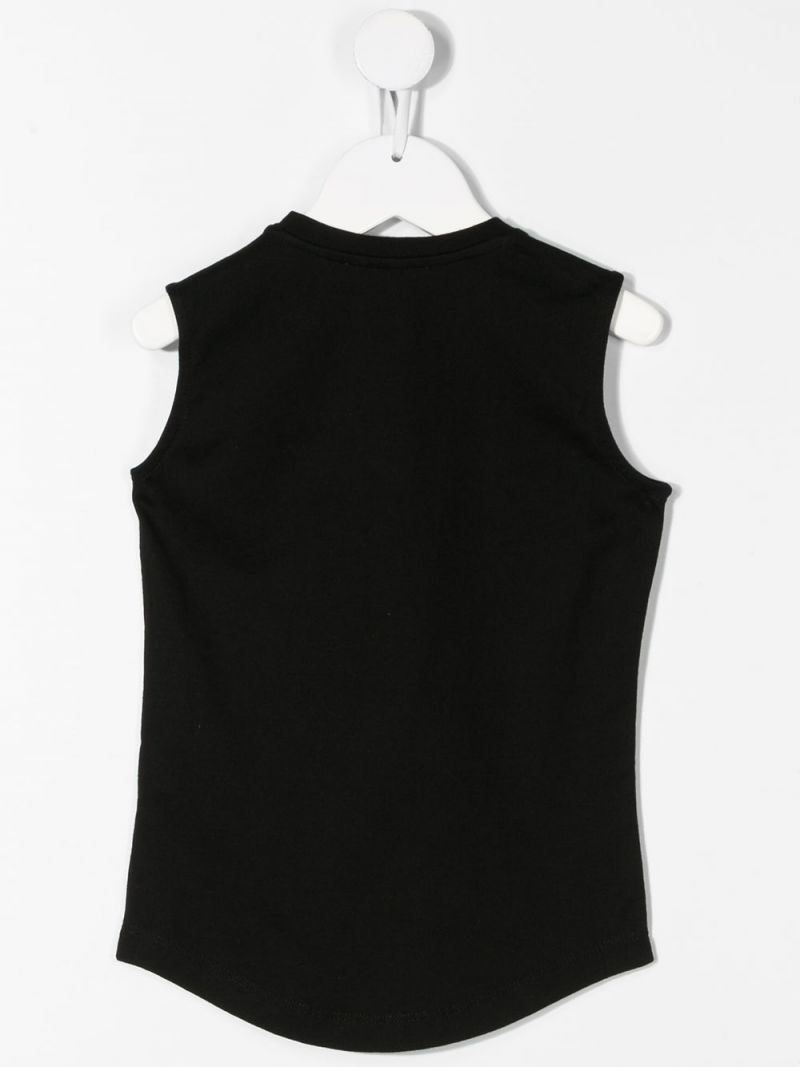 BALMAIN KIDS: Balmain logo print cotton sleeveless t-shirt Color Black_2