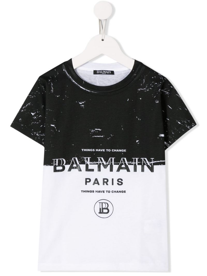 BALMAIN KIDS: Balmain logo print cotton t-shirt Color White_1