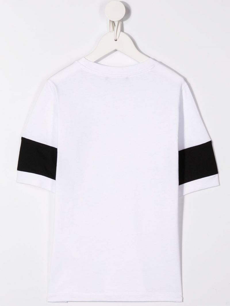 BALMAIN KIDS: logo band-detailed cotton t-shirt Color White_2