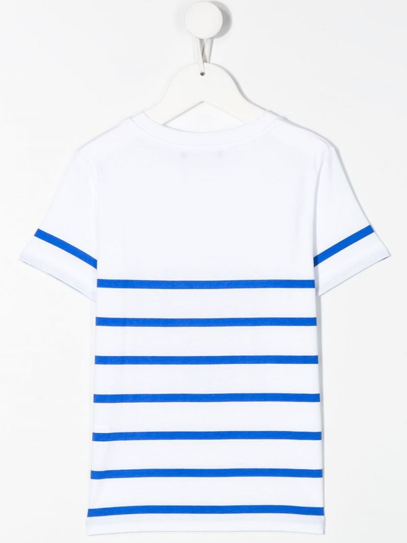 BALMAIN KIDS: Balmain logo print striped cotton t-shirt Color White_2