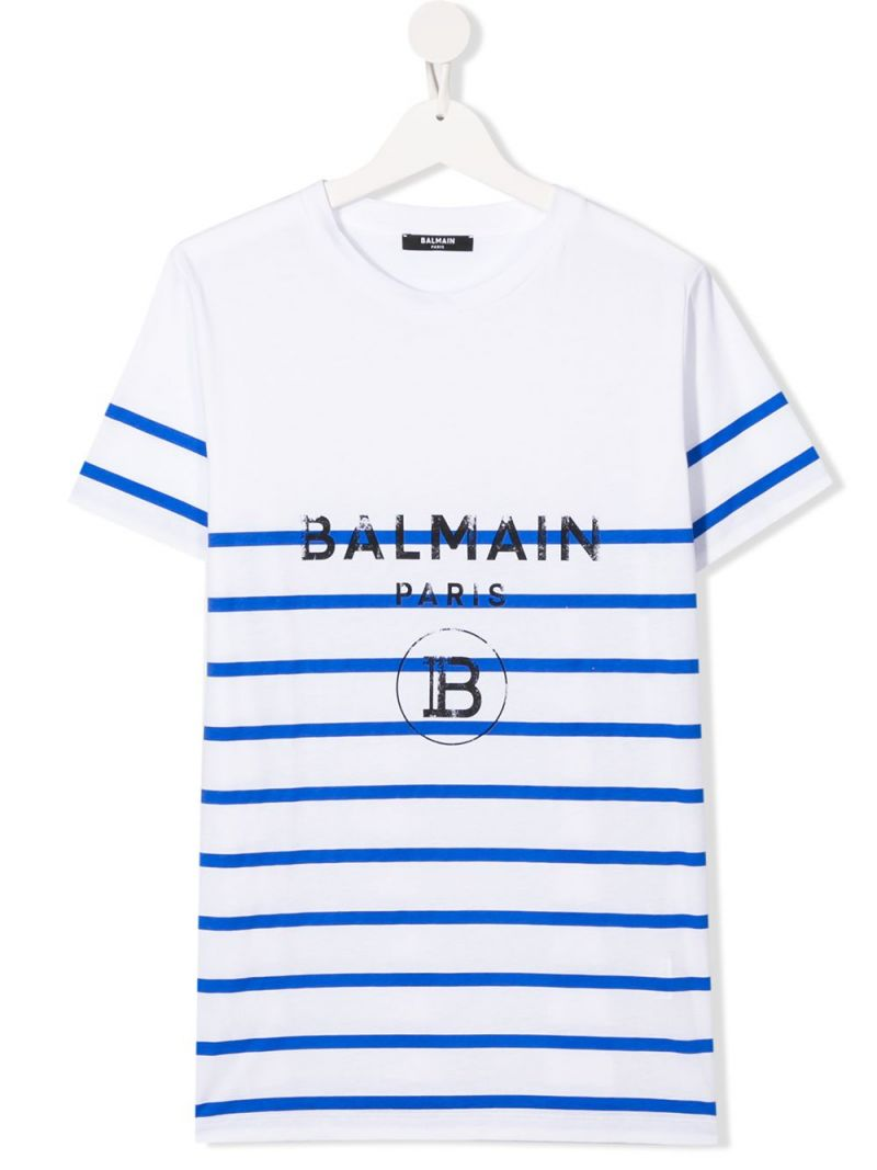 BALMAIN KIDS: Balmain logo print striped cotton t-shirt Color White_1
