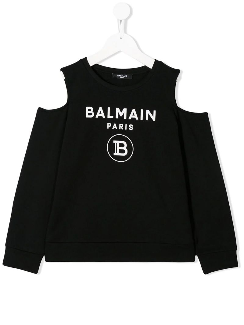 BALMAIN KIDS: cut-out detailed cotton sweatshirt Color Black_1