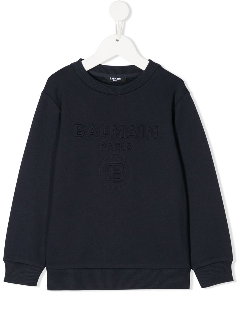 BALMAIN KIDS: Balmain logo embroidered cotton sweatshirt Color Blue_1