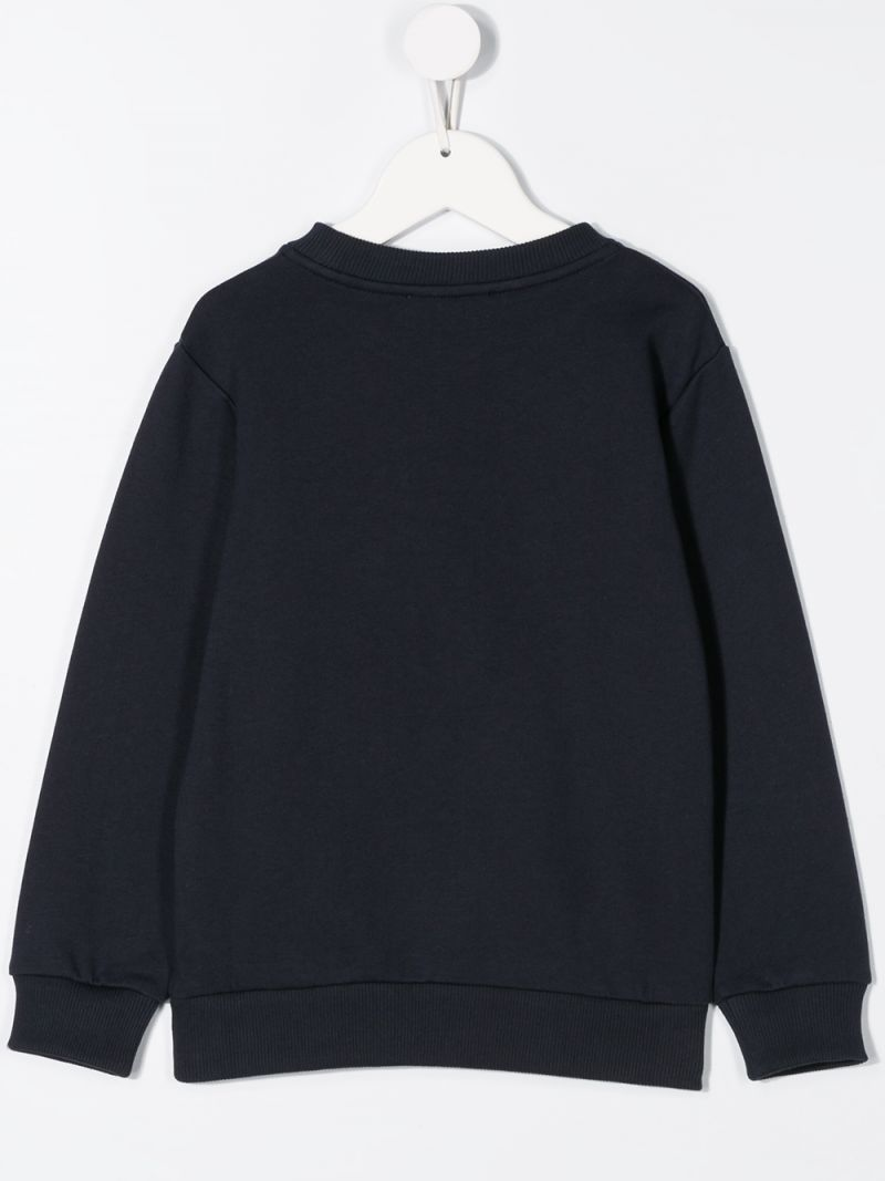 BALMAIN KIDS: Balmain logo embroidered cotton sweatshirt Color Blue_2
