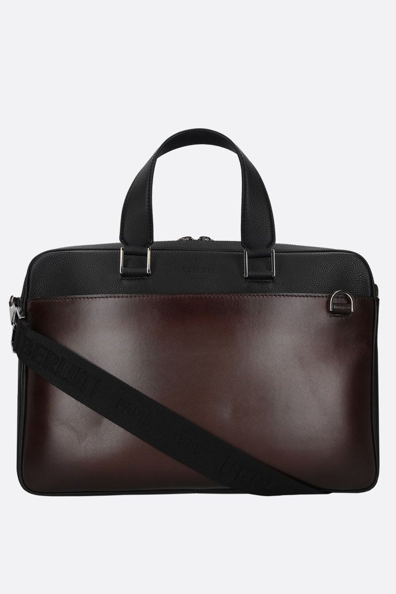BERLUTI: grainy and smooth leather business bag_1