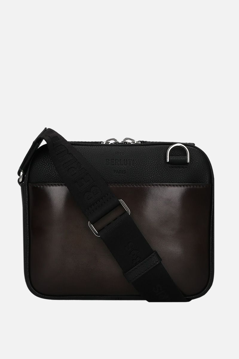 BERLUTI: Scritto and grainy leather messenger bag_1