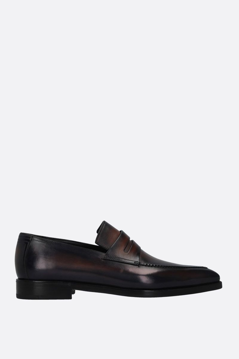 BERLUTI: Andy Dèmesure loafers in Venezia leather Color Blue_1