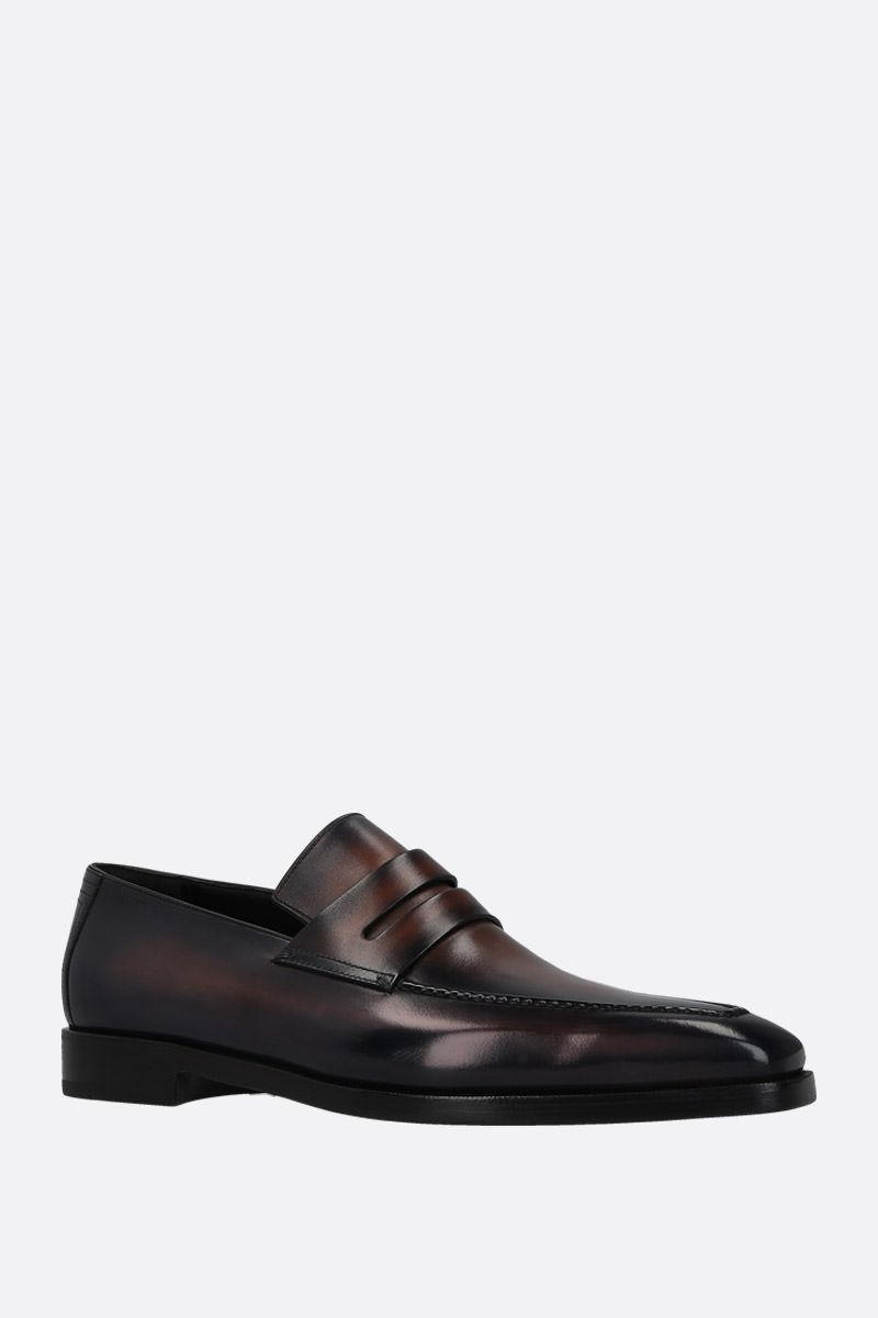 BERLUTI: Andy Dèmesure loafers in Venezia leather Color Blue_2