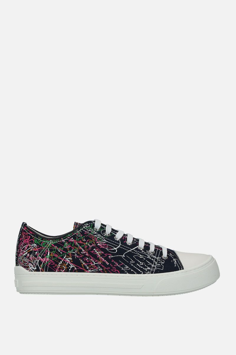 BERLUTI: printed canvas low-top sneakers Color Multicolor_1