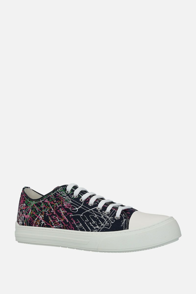 BERLUTI: printed canvas low-top sneakers Color Multicolor_2