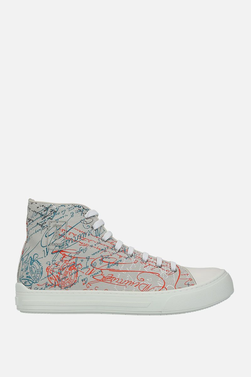 BERLUTI: printed canvas high-top sneakers Color Grey_1