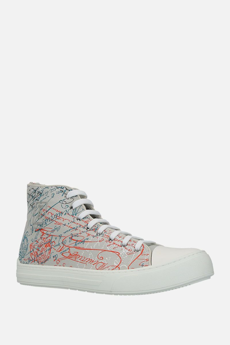 BERLUTI: printed canvas high-top sneakers Color Grey_2