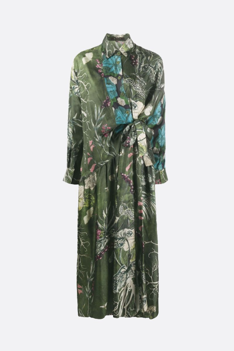 BIYAN: floral print silk shirt dress Color Green_1