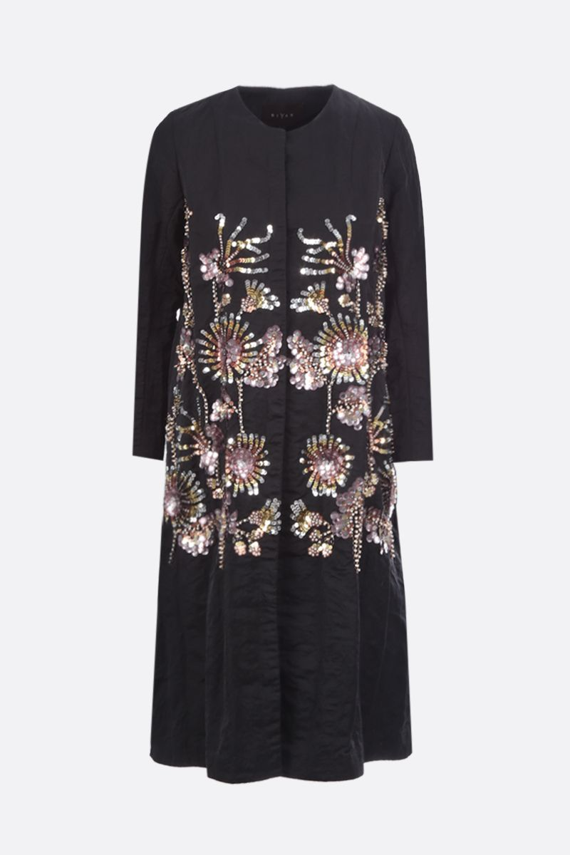 BIYAN: floral embroidered taffetà single-breasted coat Color Black_1