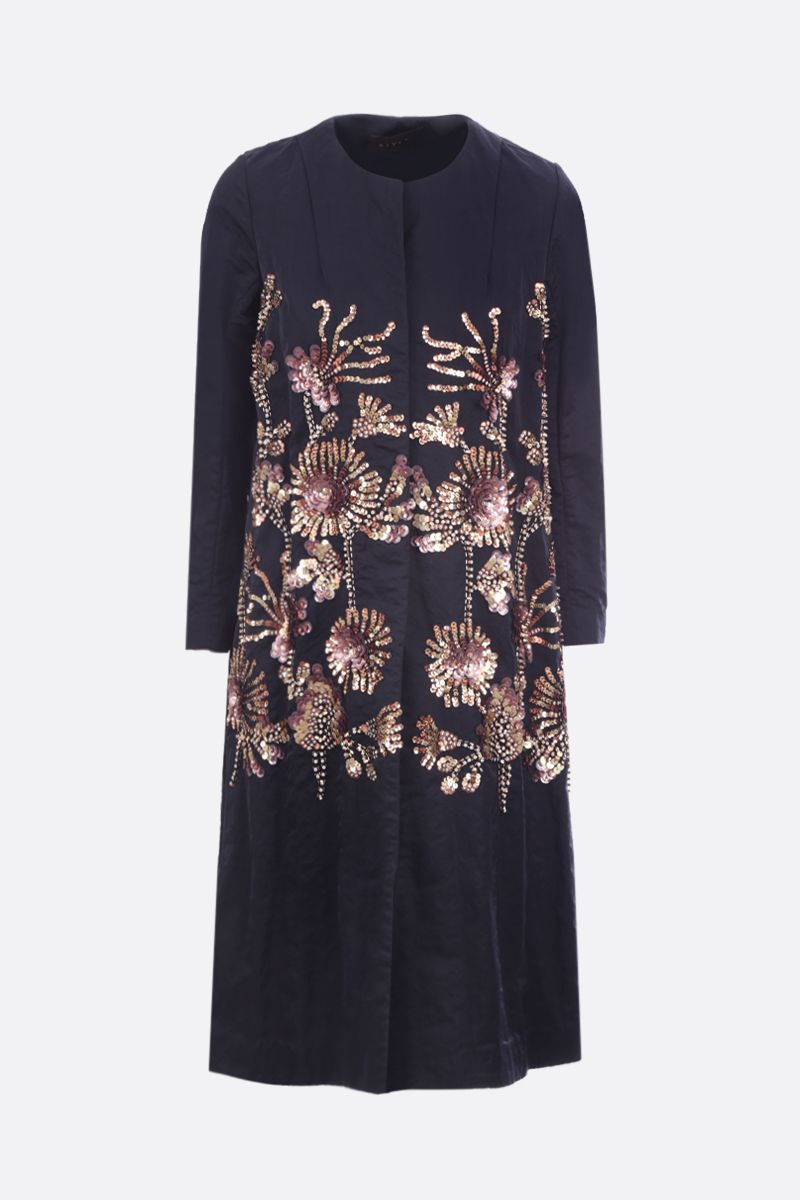 BIYAN: floral embroidered taffetà single-breasted coat Color Blue_1