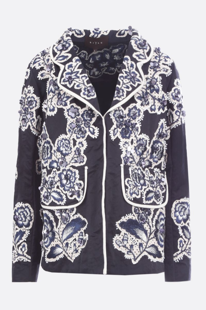 BIYAN: floral embroidered taffetà single-breasted jacket Color Blue_1