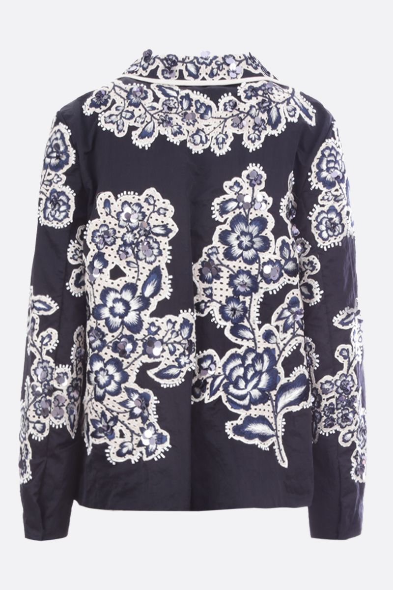 BIYAN: floral embroidered taffetà single-breasted jacket Color Blue_2