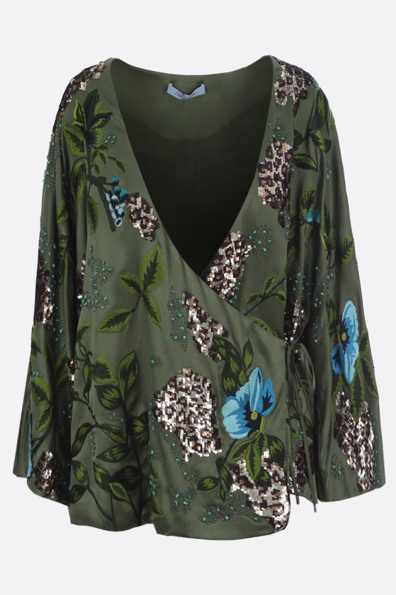 BLUMARINE: floral embroidered silk kimono Color Green_1