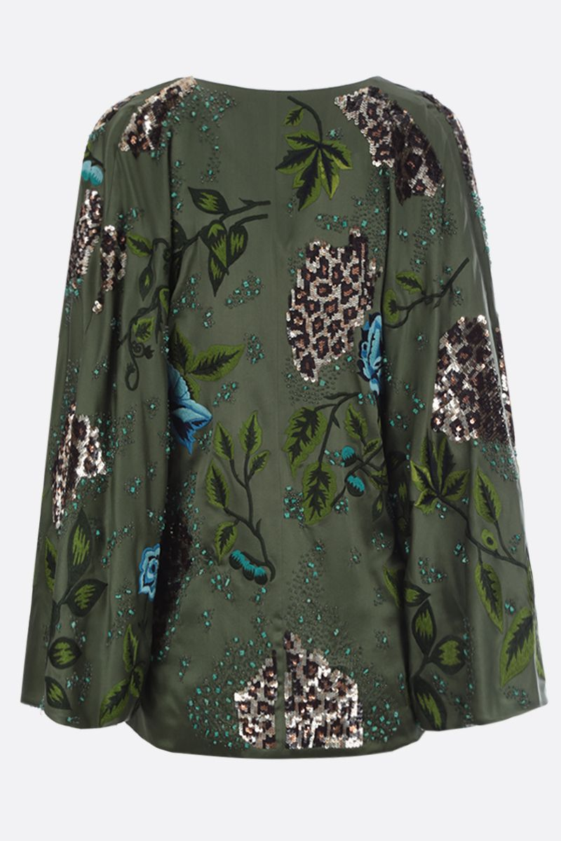 BLUMARINE: floral embroidered silk kimono Color Green_2