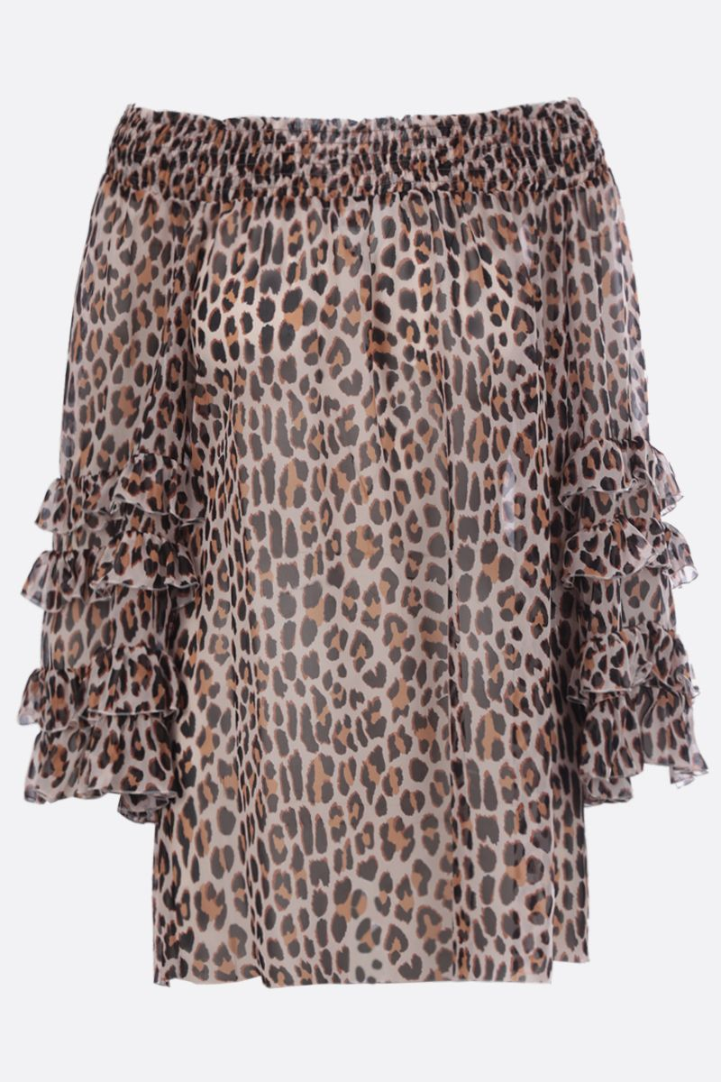BLUMARINE: leopard print silk blouse Color Neutral_1