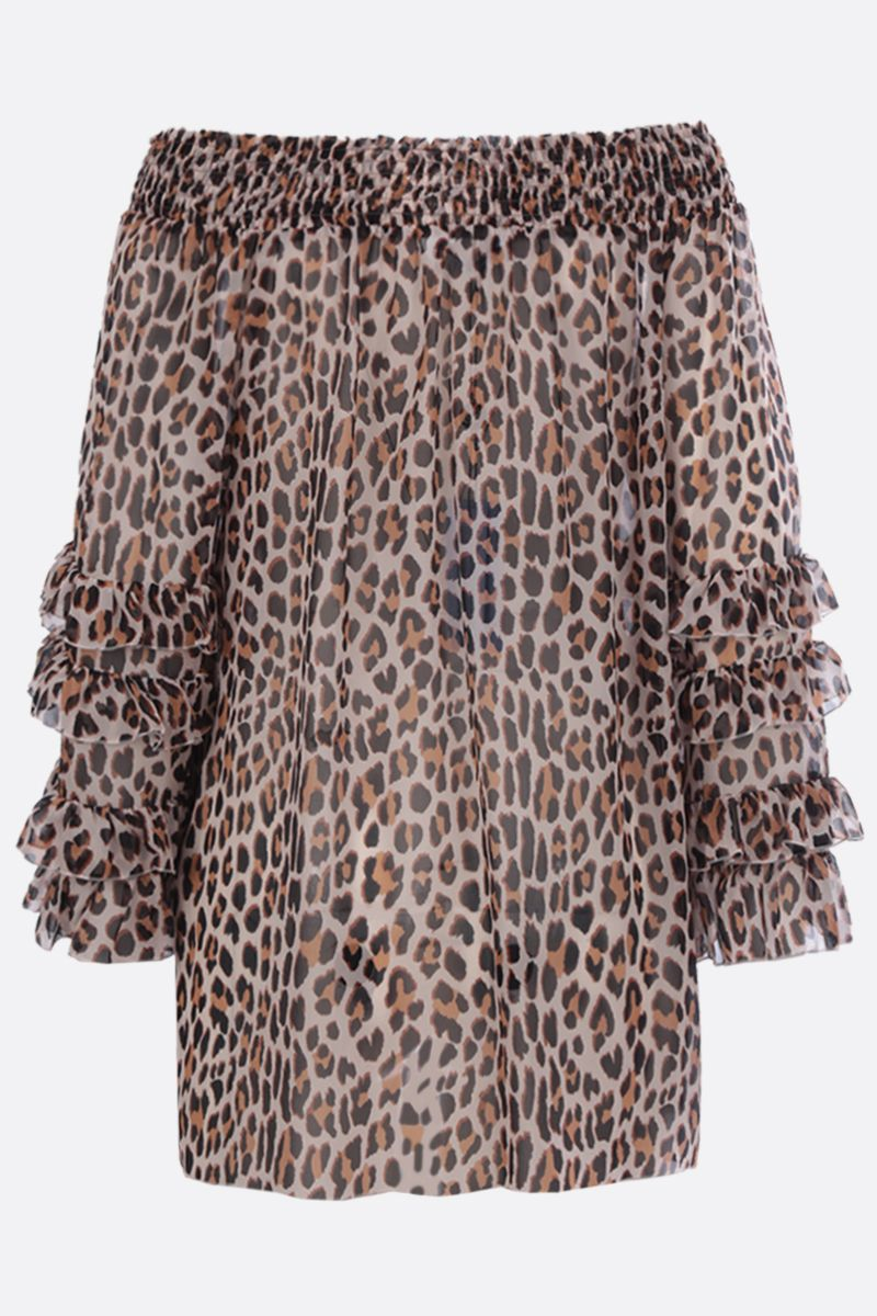 BLUMARINE: leopard print silk blouse Color Neutral_2