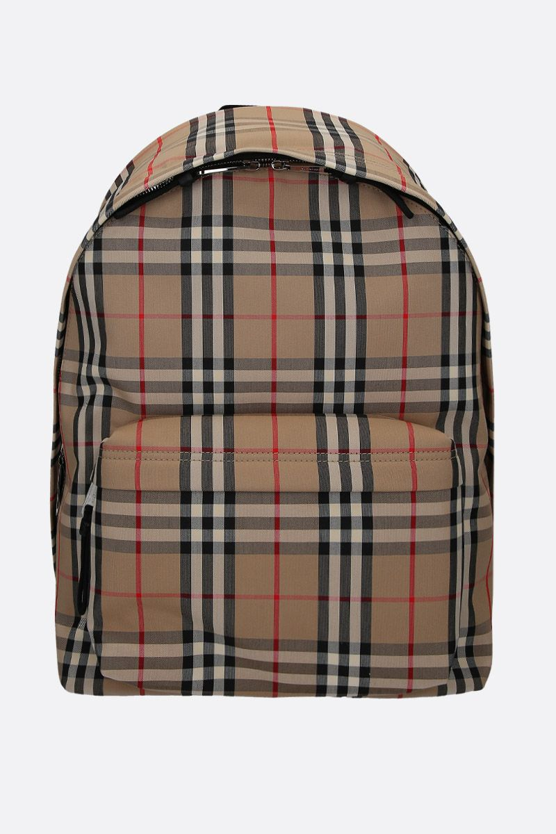 BURBERRY: zaino Jett in nylon Vintage check Colore Marrone_1