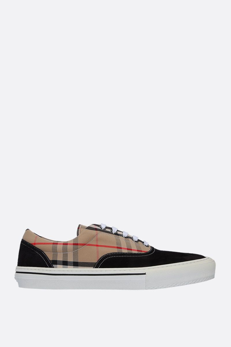BURBERRY: Wilson sneakers in suede and Vintage check canvas Color Black_1