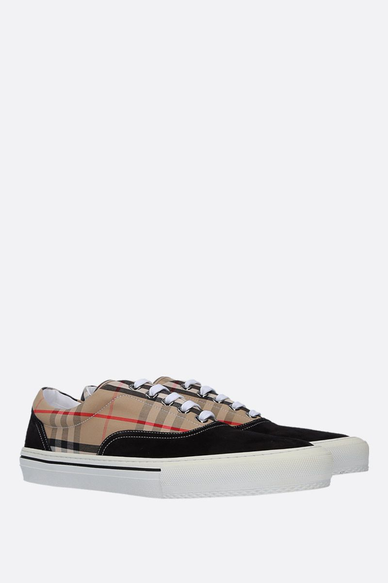 BURBERRY: Wilson sneakers in suede and Vintage check canvas Color Black_2