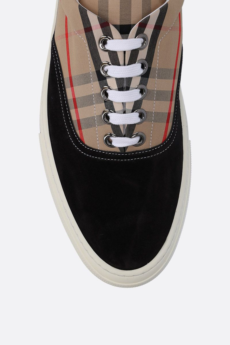 BURBERRY: Wilson sneakers in suede and Vintage check canvas Color Black_4