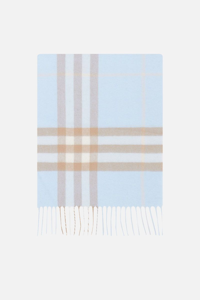 BURBERRY: Giant check cashmere scarf Color Blue_1