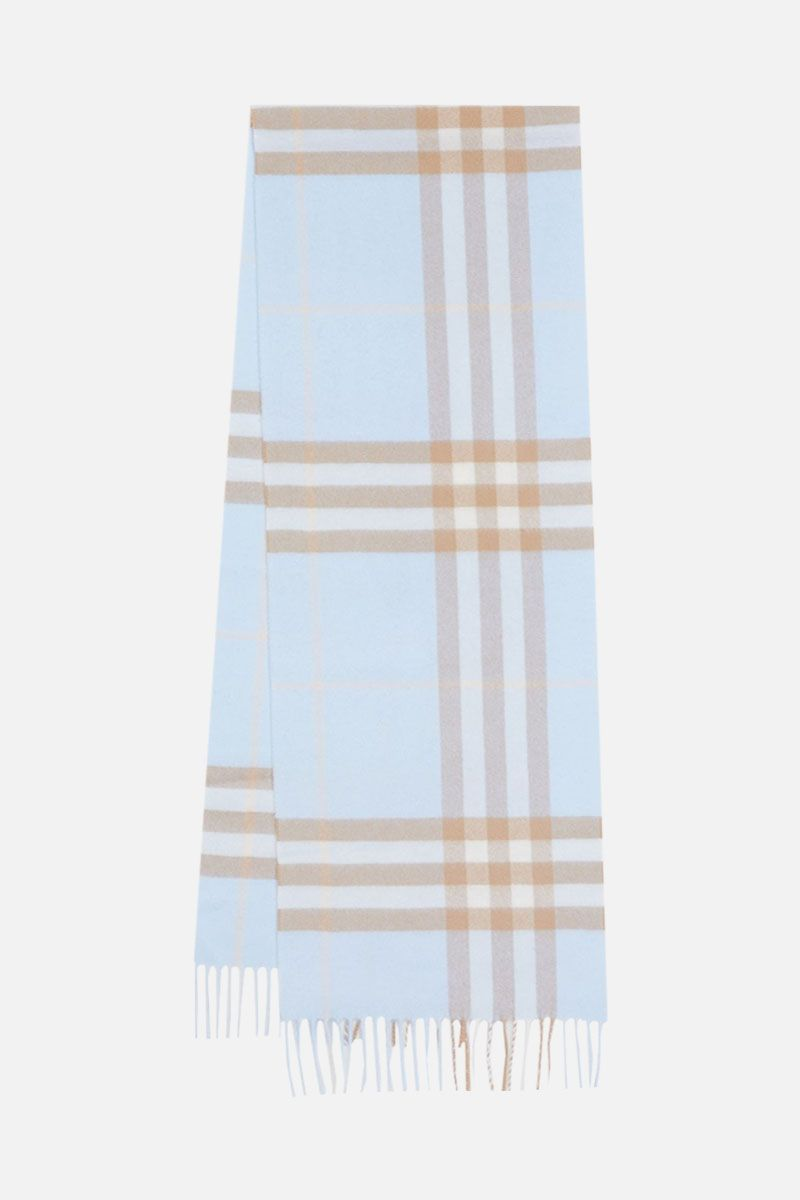 BURBERRY: Giant check cashmere scarf Color Blue_2