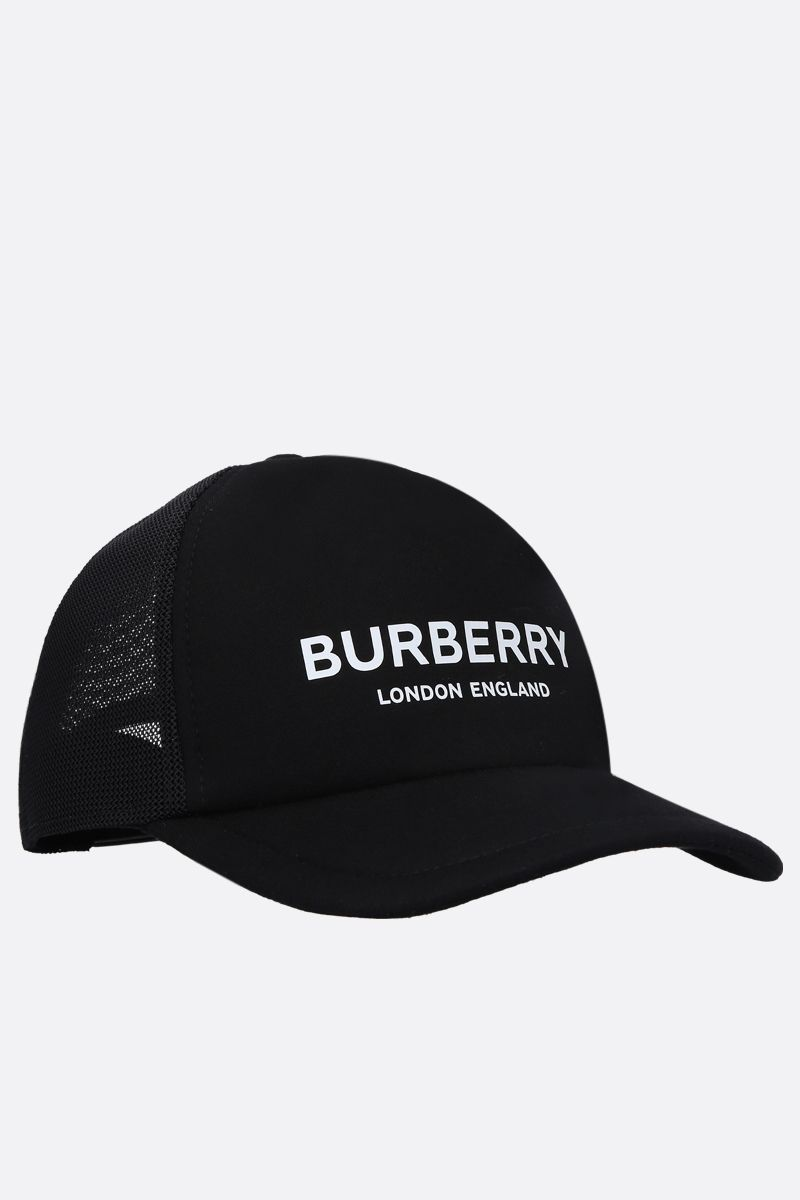 BURBERRY: cappellino baseball Trucker in neoprene e mesh Colore Nero_2