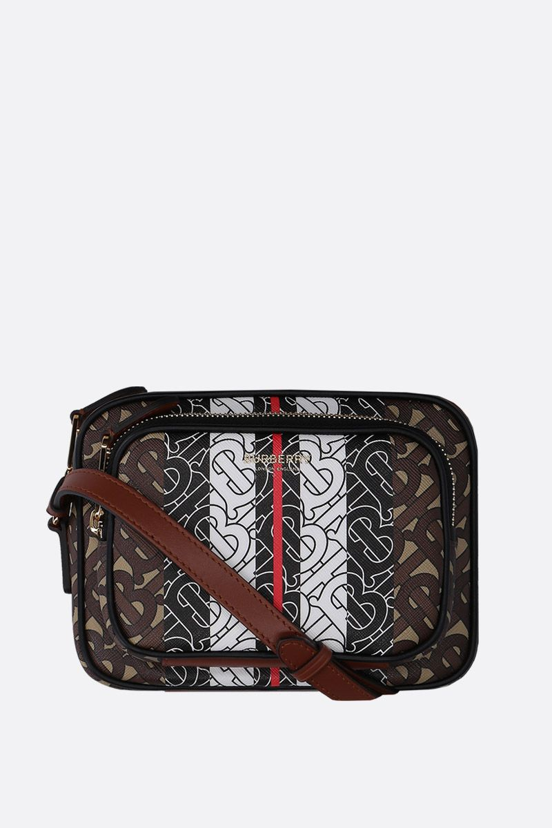 BURBERRY: borsa a spalla in canvas resinato stampa TB Monogram_1
