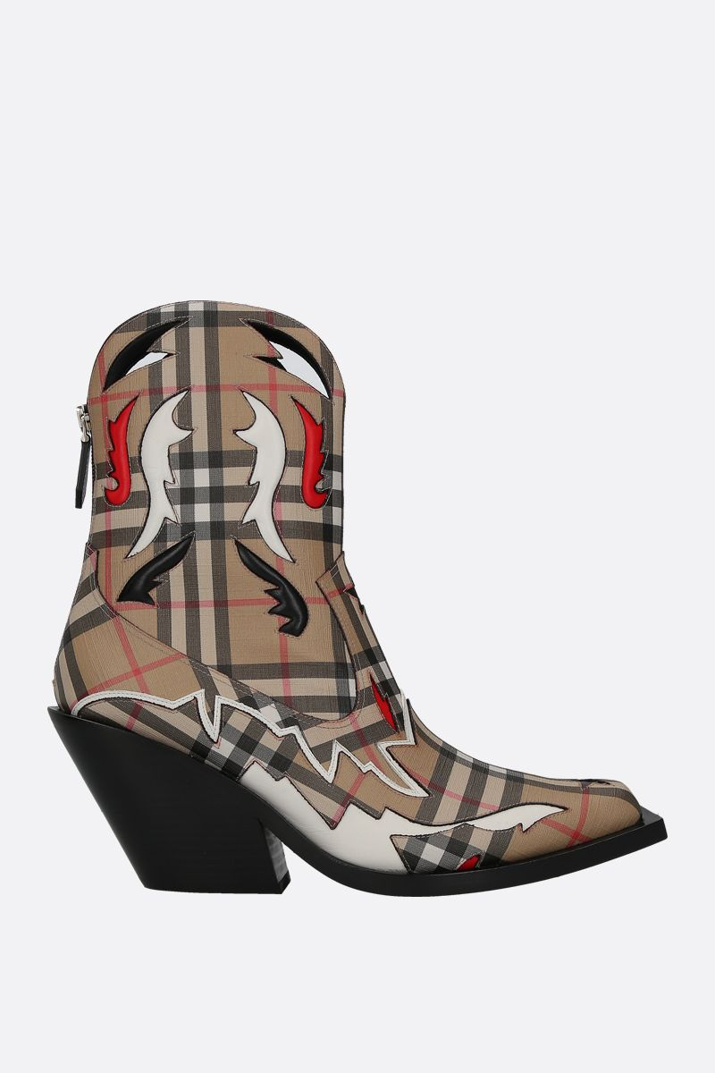 BURBERRY: Matlock western boots in Vintage check e-canvas Color Multicolor_1